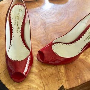 Bettye Muller Red Patent Leather Heels Peep Toe